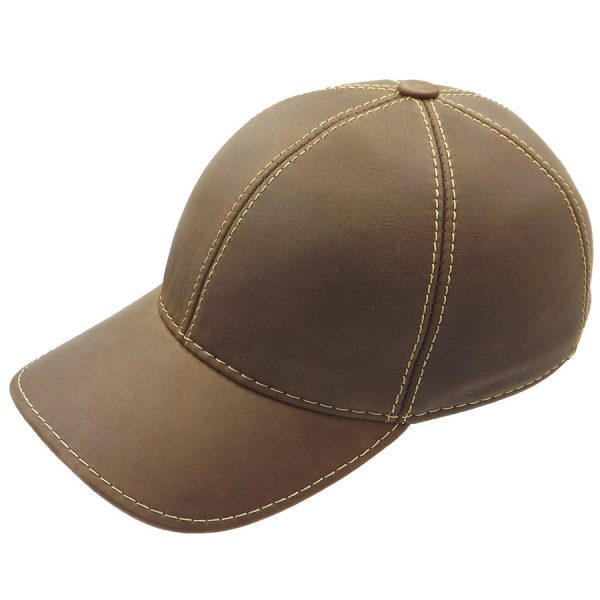 Light Brown Baseball Leather Cap - 010Z-3