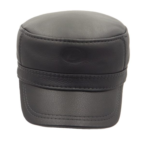 Demi-Season Black Leather Cap - 022Z1