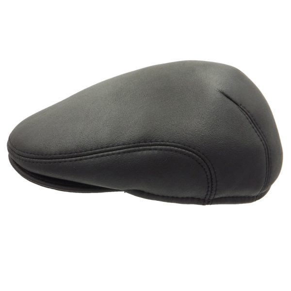 Black Raglan Leather Cap - 03K-1