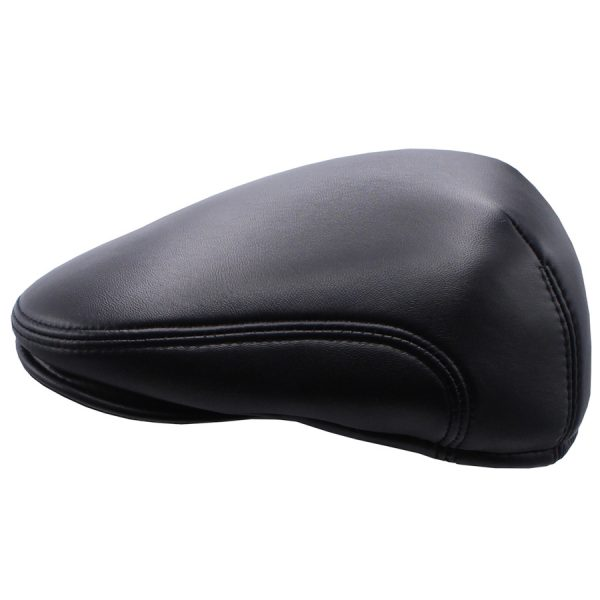 Black Raglan Leather Cap - 03Z-1