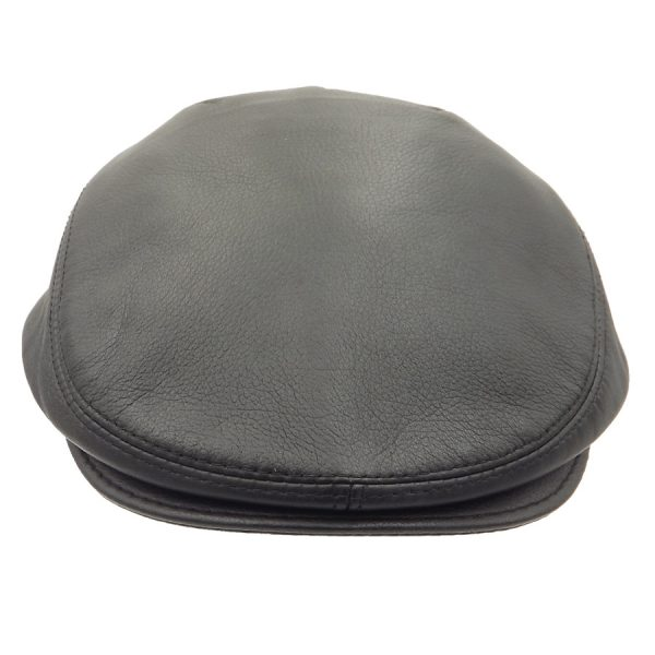 Black Raglan Leather Cap - R04Z-1